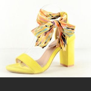 Yellow chunky heels with scarf lace up